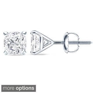Auriya 14k/18k Gold or Platinum 3/4ct TDW 4Prong-Martini Cushion-Cut Martini Diamond Earrings (H-I, SI1-SI2)