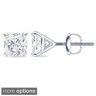 Auriya 14k/18k Gold or Platinum 3/4ct TDW 4-Prong Martini Cushion-Cut Diamond Stud Earrings (5 options available)