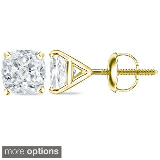Auriya 14k/18k Gold or Platinum 1 ct TDW 4Prong-Martini Certified Cushion Diamond Stud Earrings (H-I, SI1-SI2)