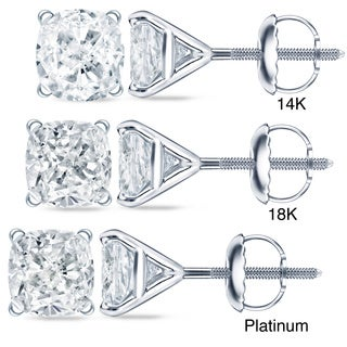 Auriya 1 1/2 ct TDW 4Prong-Martini Certified Cushion-Cut Diamond Stud Earrings (H-I, SI1-SI2)
