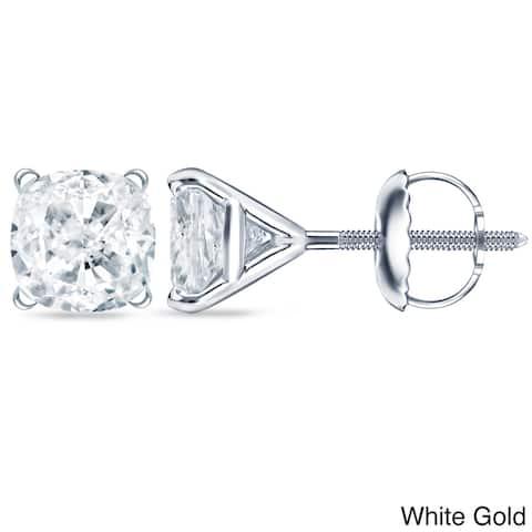 Auriya 2ctw Cushion-cut Diamond Stud Earrings 14k 18k or Platinum Martini Set