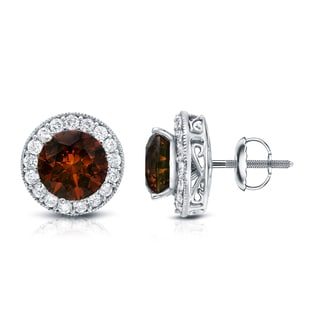 Auriya 14K Gold 5ct TDW Brown and White Diamond Earrings (G-H, SI1-SI2)