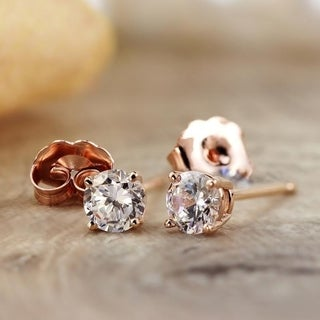 Auriya 14k Rose Gold 1/4ct to 3/4ct TDW Round Diamond Stud Earrings (H-I, SI1-SI2)