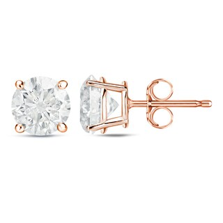 Auriya 14k Rose Gold 1 to 2ct TDW Certified Round Diamond Earrings (H-I, SI1-SI2)
