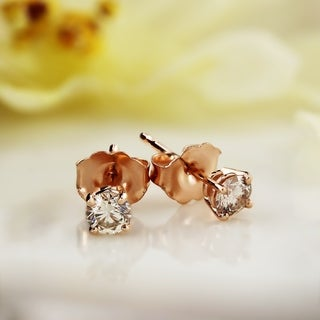 Auriya 14k Rose Gold 1/4 to 3/4ct TDW Round Diamond Solitaire Stud Earrings