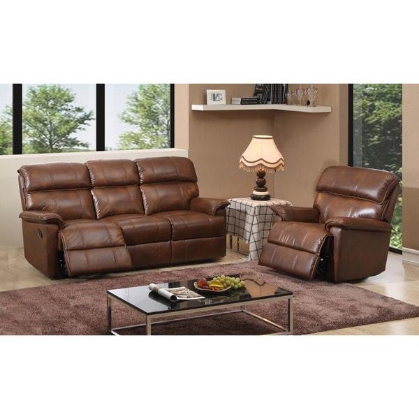 Shop Palma Caramel Brown Italian Leather Reclining Sofa And Recliner