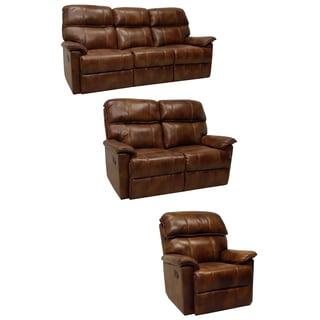 Palma Caramel Brown Italian Leather Reclining Sofa, Loveseat and Chair