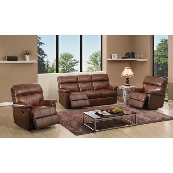 Shop Palma Caramel Brown Italian Leather Reclining Sofa and Two ...