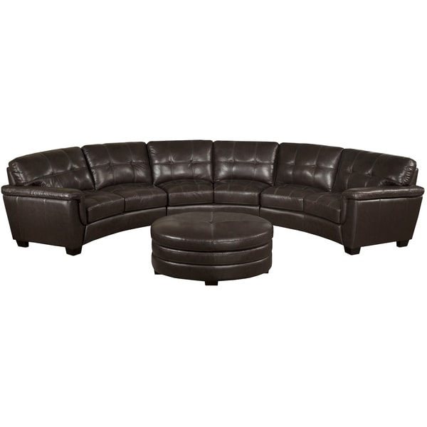 Curved Sofa Sectional Leather: Soho Chocolate Brown Italian Leather Curved Sectional Sofa