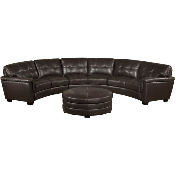 Soho Chocolate Brown Italian Leather Curved Sectional Sofa