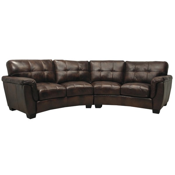 Shop Tribeca Chocolate Brown Italian Leather Curved Sectional Sofa ...