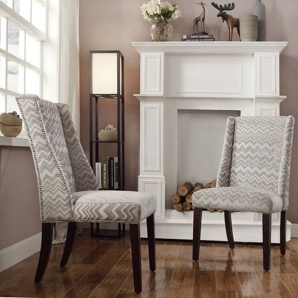Superieur INSPIRE Q Geneva Grey Chevron Wingback Hostess Chairs (Set Of 2)