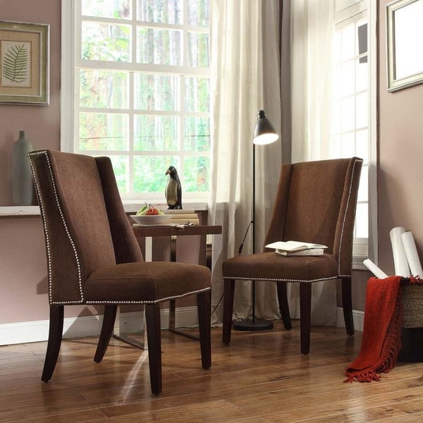 INSPIRE Q Geneva Chocolate Chenille Wingback Hostess Chairs (Set of 2)