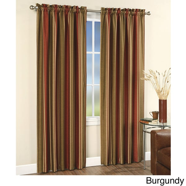 faux silk stripe rod pocket 84 inch curtain panel pair free shipping