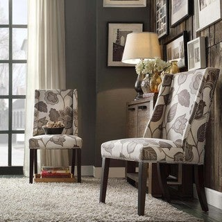 INSPIRE Q Geneva Grey Floral Wingback Hostess Chairs (Set of 2)