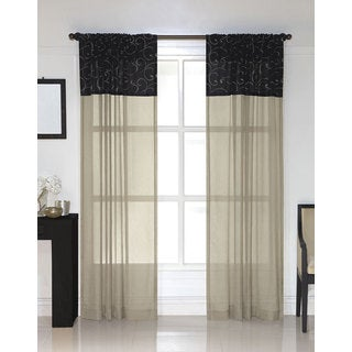 Westgate Black Embroidered Sheer Curtain Panel Pair