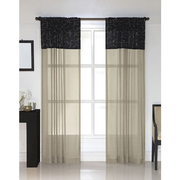 Shop Westgate Black Embroidered Sheer Curtain Panel Pair