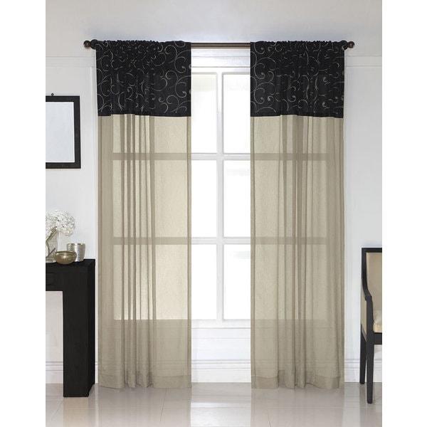 westgate black embroidered sheer curtain panel pair free. Black Bedroom Furniture Sets. Home Design Ideas