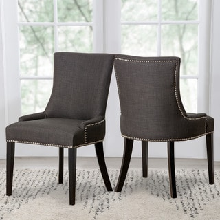 Link to Abbyson Newport Grey Fabric Nailhead Trim Dining Chair Similar Items in Dining Room & Bar Furniture