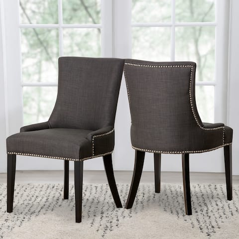 Abbyson Newport Grey Fabric Nailhead Trim Dining Chair