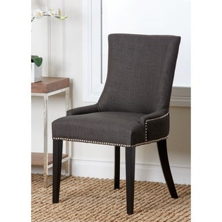 Abbyson Newport Grey Fabric Nailhead Trim Dining Chair