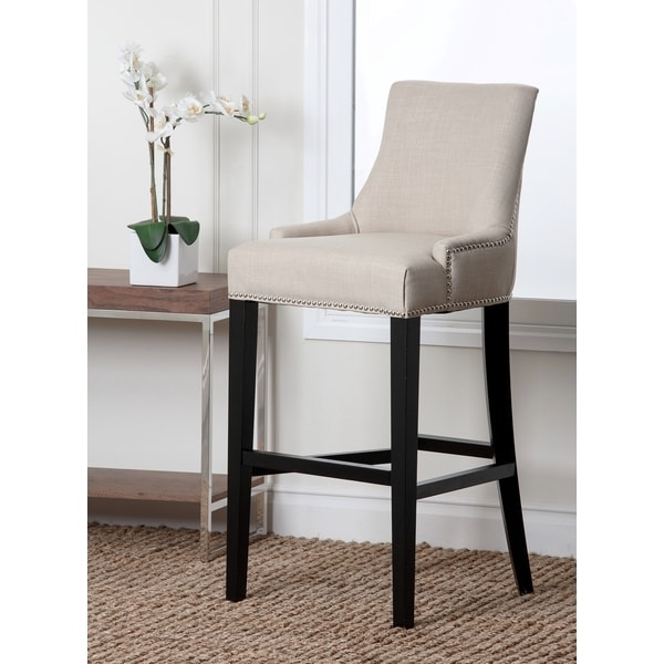 shop abbyson newport ivory fabric nailhead trim bar stool free shipping today. Black Bedroom Furniture Sets. Home Design Ideas