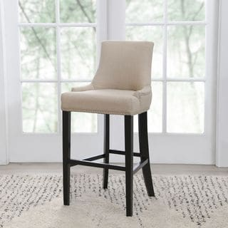Abbyson Newport Off-white Fabric Nailhead Trim Bar Stool