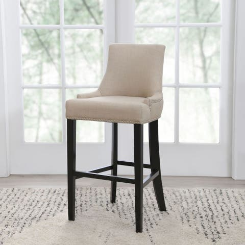 Abbyson Newport Ivory Fabric Nailhead Trim Bar Stool