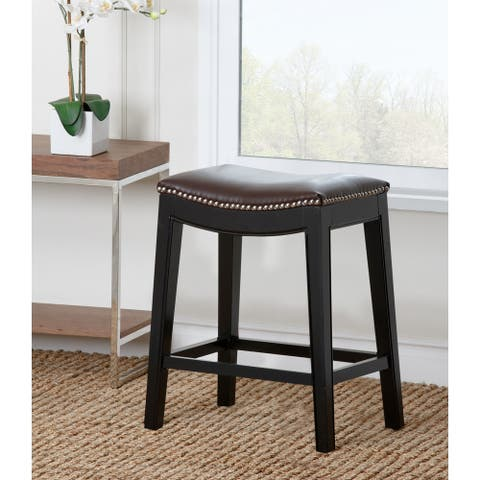 Abbyson Rivoli Dark Brown Leather Nailhead Trim Counter Stool
