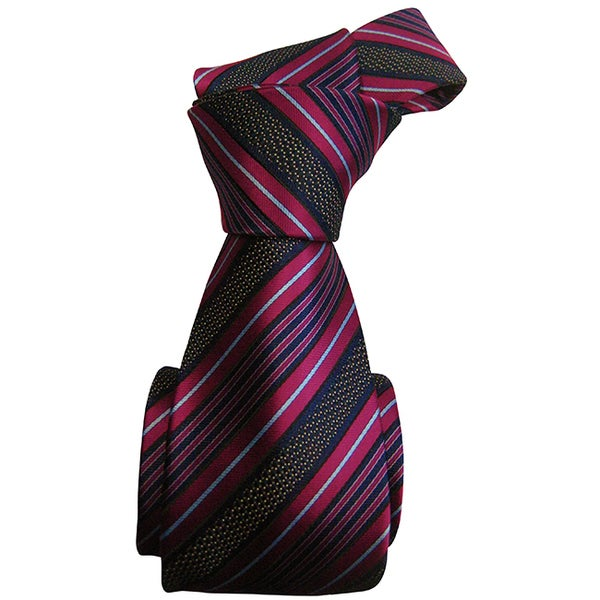 Dmitry Men's Eye-Catching Blue Striped Italian Silk Tie