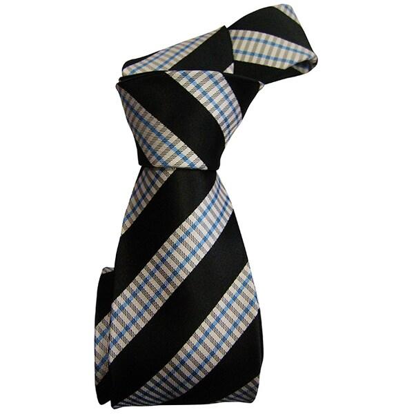 DMITRY Mens Italian Silk White Patterned Tie