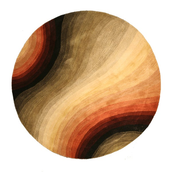 """Hand-tufted Wool Contemporary Abstract Desertland Rug (7'9 Round) - 7'9"""" Round"""