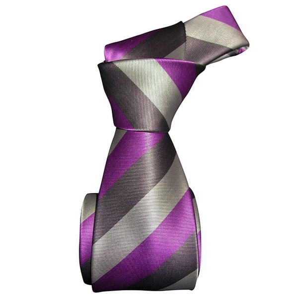 Dmitry Men's Purple Diagonally Striped Italian Silk Tie