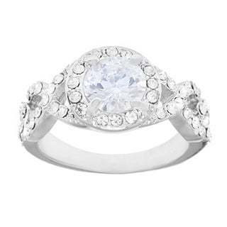 Simon Frank Prong-set CZ with Crystal Accents Engagement Ring