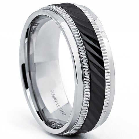 Oliveti Stainless Steel Black Plated Men's Crystal-Cut Wedding Band Ring (7mm)
