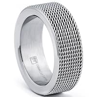 Oliveti Stainless Steel Men's Mesh Band Ring
