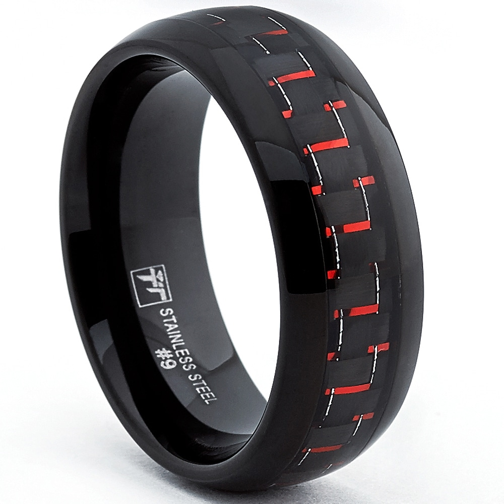 Stainless Steel Polished 8mm Black IP-plated Grey Carbon Fiber Inlay Band Size 8 Length Width 8