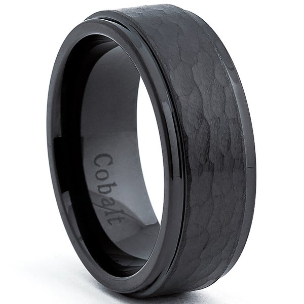 Cobalt Men's Black Hammered Comfort Fit Band (8 mm)