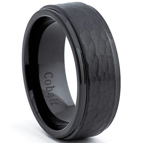 Cobalt Men's Black Hammered Comfort Fit Band (8 mm)