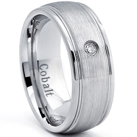 Cobalt Men's Dome Brushed Ring with Diamond (H-I, SI3-I1)