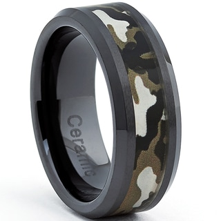 Black Ceramic Military Camo Ring (8 mm)