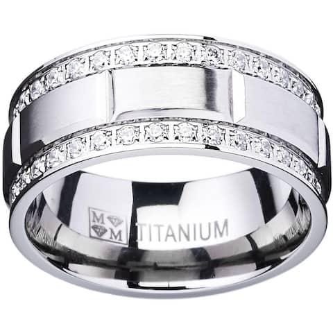 Oliveti Titanium Men's Ring with Double Row Cubic Zirconia (9mm)