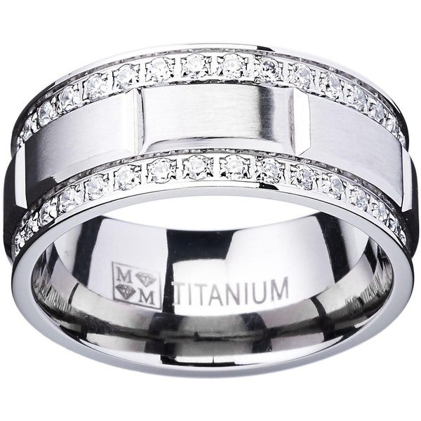 Oliveti Titanium Men's Ring with Double Row Cubic Zirconia (9mm). Opens flyout.