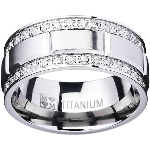 Oliveti Titanium Men's Ring with Double Row Cubic Zirconia (9mm)