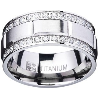 Titanium Men's Ring with Double Row Cubic Zirconia (9mm)