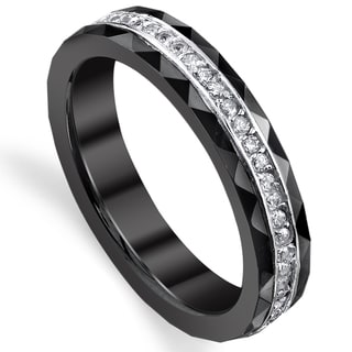 Black Ceramic and Sterling Silver Eternity Cubic Zirconia Ring (4 mm)