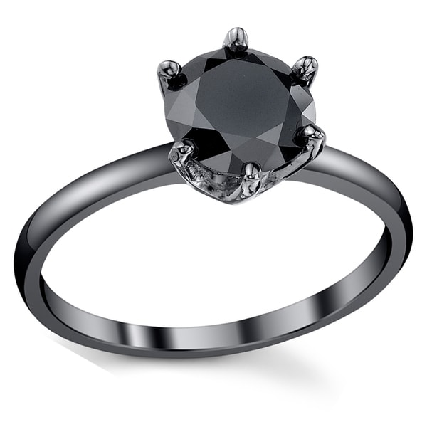 Round Cut Black /& White Cubic Zirconia Solitaire with Accent Ring in 14K Gold Over Sterling Silver