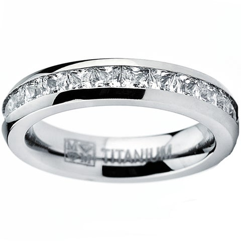 Titanium Princess-cut Cubic Zirconia Eternity Ring