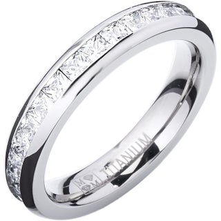 Titanium Princess-cut Cubic Zirconia Eternity Ring (More options available)