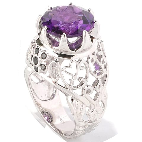 Sterling Silver Amethyst and Black Spinel Ring